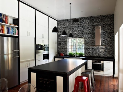 cocina blanco negro