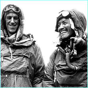 Sir Edmund Hillary on the left with Tenzing Norgay on the right