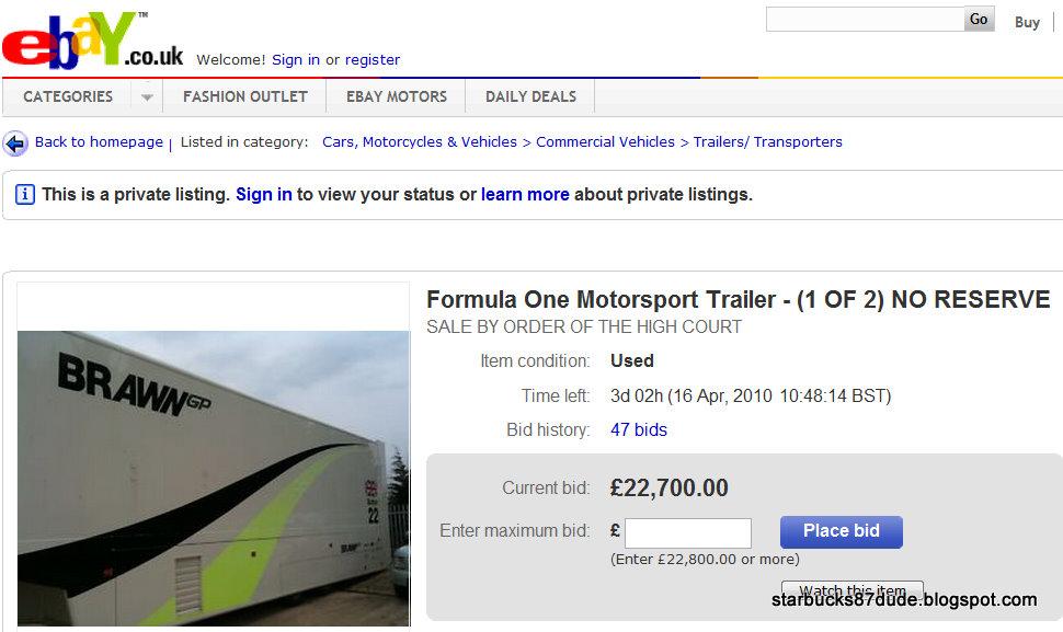 Brawn GP F1 Trailer Up For Bid in ebay UK ~ Here & There, EveryWhere =)