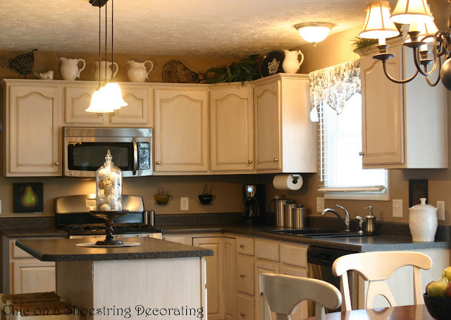 Chic on a shoestring decorating kitchen before and after for White pickled kitchen cabinets