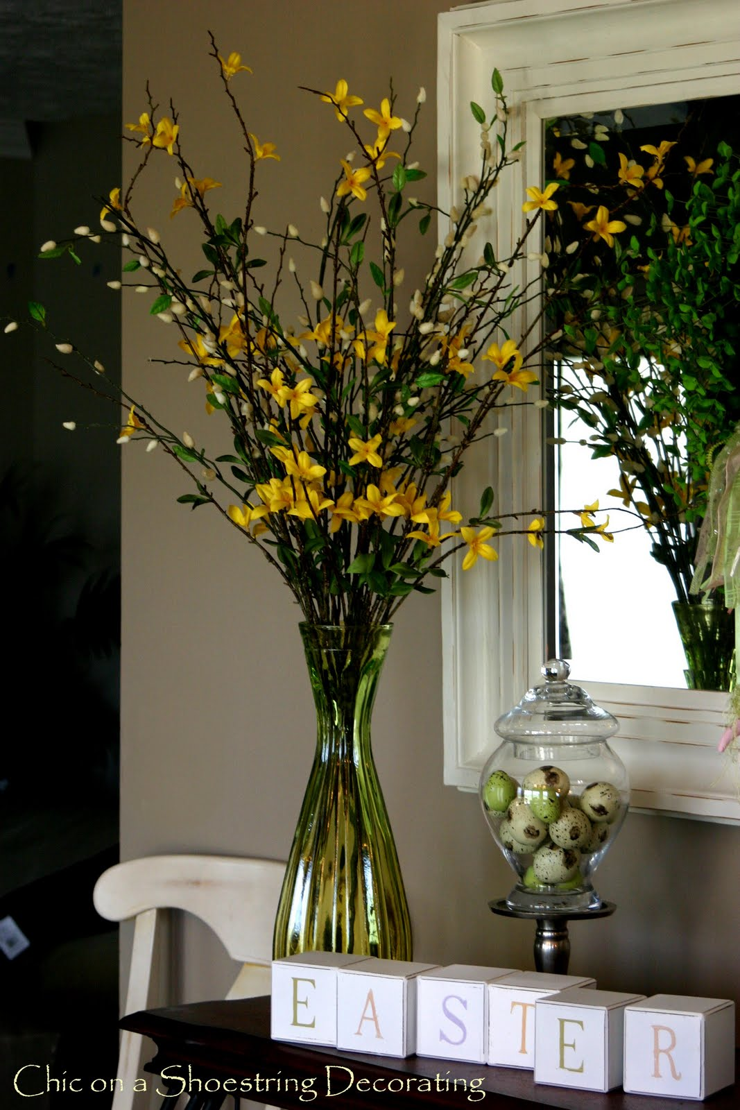 chic on a shoestring decorating pretty faux forsythia really they dont look fake - Forsythia Arrangements