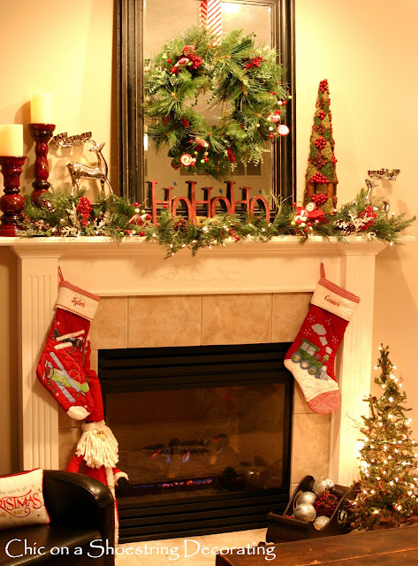Chic on a shoestring decorating sprucin 39 up my christmas for How to decorate a fireplace for christmas
