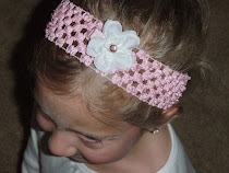 Pink crochet headband with white tea rose flower clip with pink accent