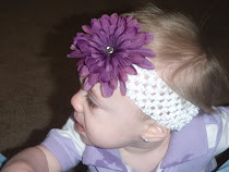White Crochet Headband with Large Dark Purple Flower Clip