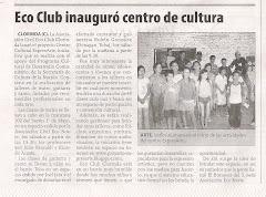 Ecoclub inauguró centro de cultura