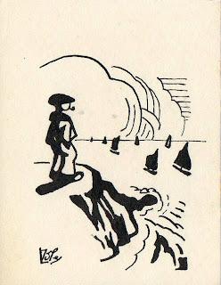 dessin d'un homme qui regarde la mer