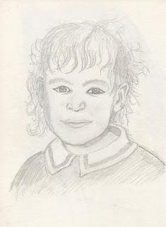 dessin au crayon représentant une petite fille