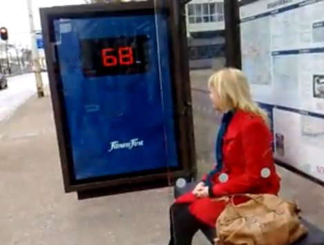 Fitness First Weight Splashing Billboard At Bus Stop