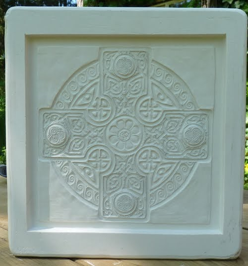 Decorative Handmade Ceramic Tile Celtic Cross Mold Done