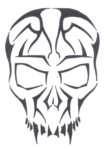 images Tribal Skull Tattoos: tengkorak garis