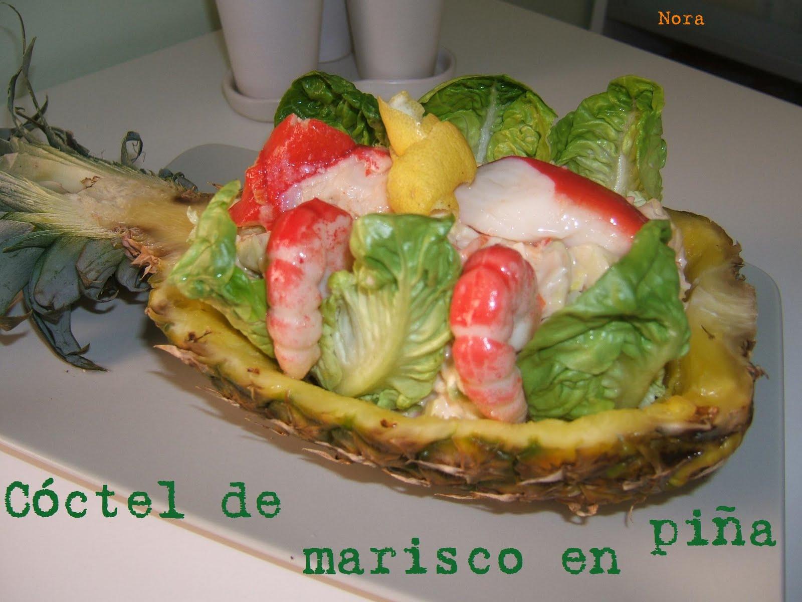 El puchero de nora c ctel de marisco en pi a - Coctel de marisco con aguacate ...