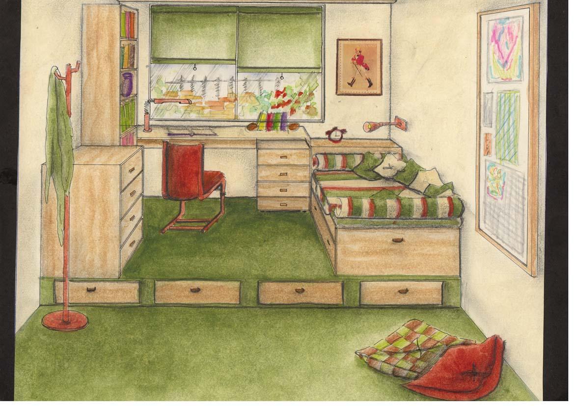 Dormitorio Dibujo ~ Delineante y Técnico de Decoración de Interiores Perspectiva frontal de habitaciones