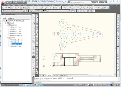 Ejemplo de Tutorial de AutoCAD para activar la ventana de componentes Mechanical Browser