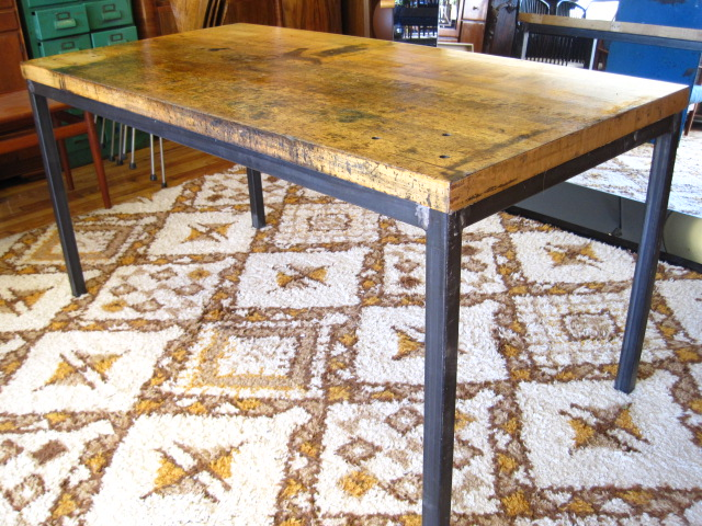 Mid Century Furniture Industrial Butcher Block Dining Table SOLD