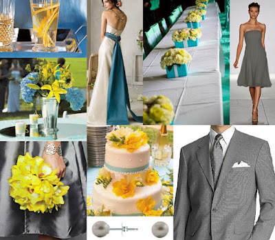 Turquoise yellow and gray wedding inspiration board and invitation from