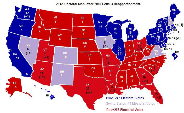 economy industry usa view: The new 2012 electoral map after 2010 ...