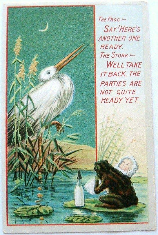 postcardiva postcard blog Antique BABIES STORKS Birth – Stork Birth Announcement