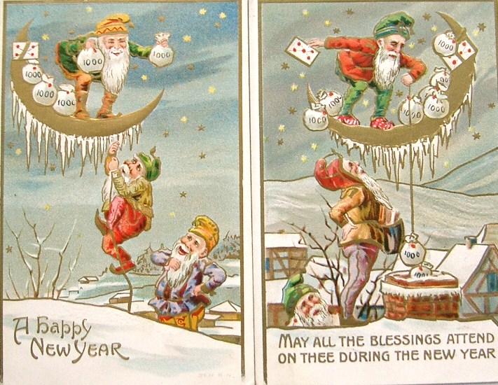 postcardiva postcard blog: NEW YEAR Elves & Gnomes on Antique ...