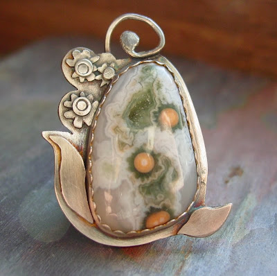 ocean jasper pendant sterling