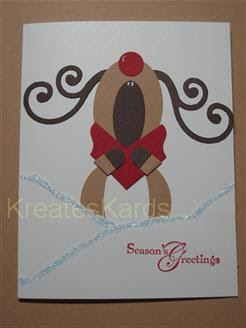 kreateskards singing reindeer christmas card