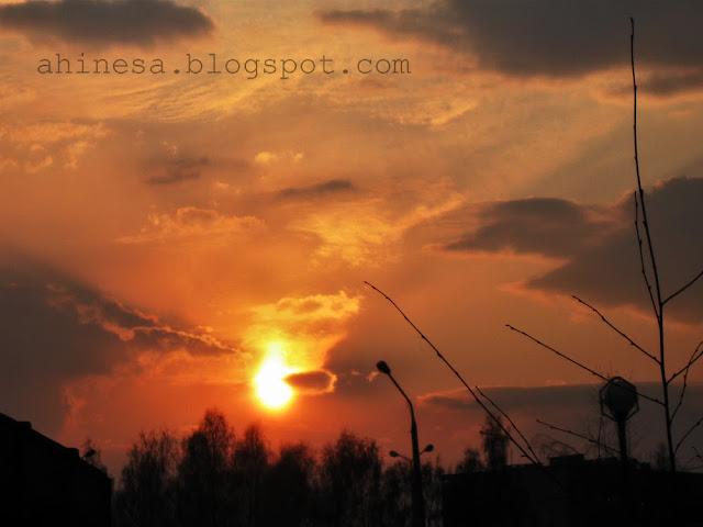 небо, закат, солнце, облака