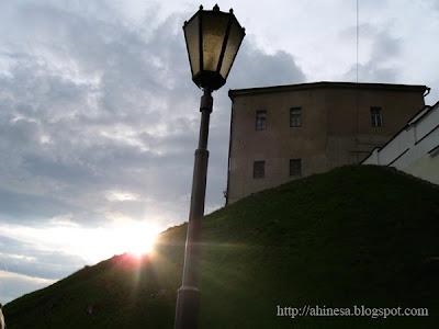 закат, старый замок в Гродно