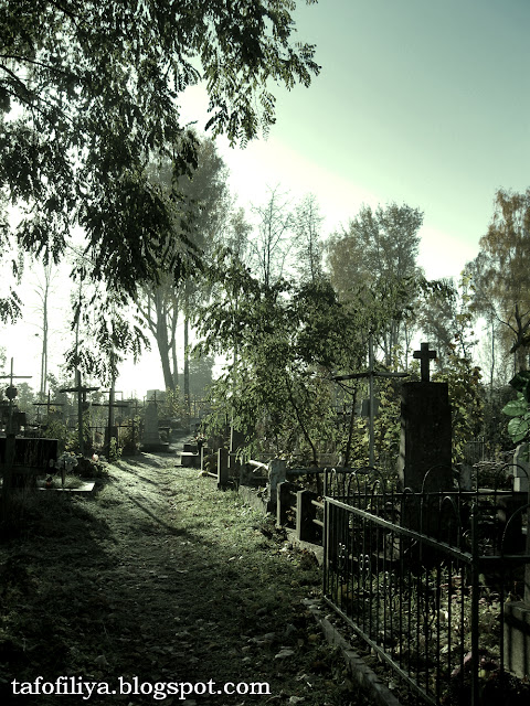 кладбище, панорама кладбища, красивое кладбише, загадочное кладбище, кресты, надгробия