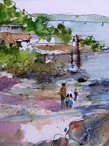West Seattle, watercolor sketch by Susan K. Miller