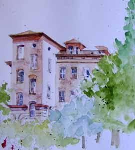 Good Shepherd Center, Wallingford; watercolor sketch by Susan K. Miller