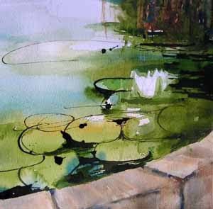 Water Lilies, watercolor and ink sketch by Susan K. Miller