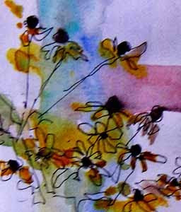 Black-eyed Susans, a watercolor sketch by Susan K. Miller