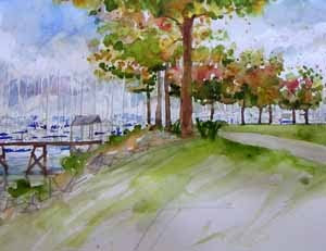 Elliott Bay Marina, Seattle - watercolor sketch by Susan K. Miller