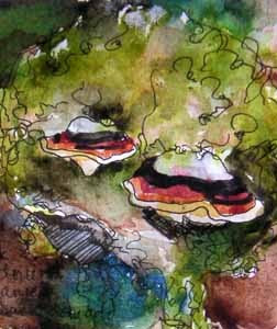 lichens on a log, Schmitz Preserve Park, watercolor sketch by Susan K. Miller