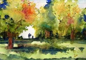 Volunteer Park, Seattle - watercolor sketch by Susan K. Miller