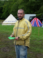 Mark Boyle -'The Moneyless Man' helping the freelender launch at Buddhafield Festival 2009