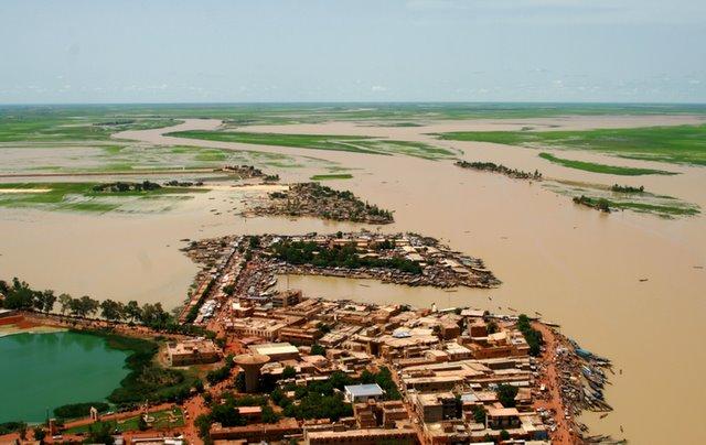 Vista aérea  de la ciudad de Mopti