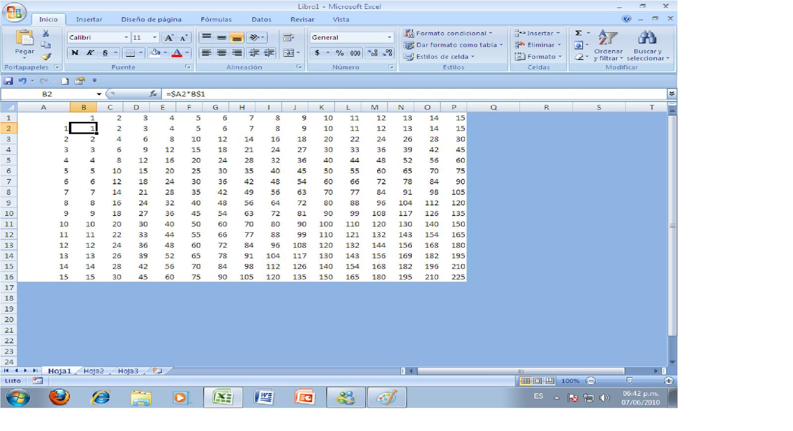 Temas sobre Informatica: Tablas de multiplicar en Excel.