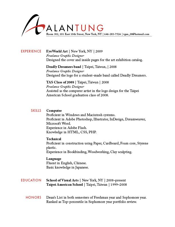 Alans Type Design Web Design Resume