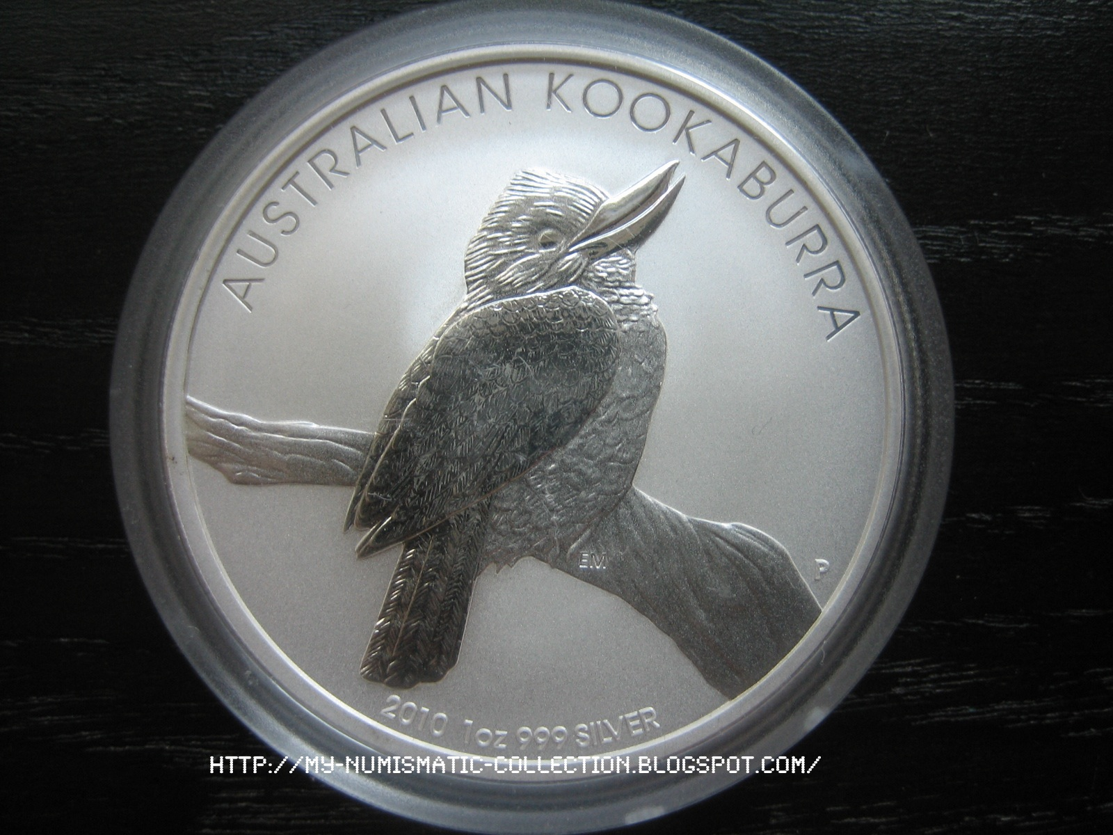 PM capsule round 1 oz BU-ST Silver with 2008 Australian Kookaburra