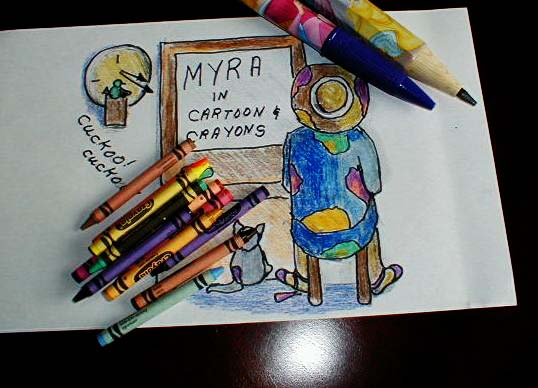myra in cartoon and crayon