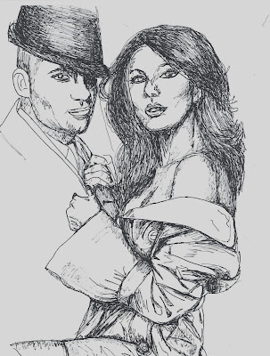 fashion illustration of Tony and Eva Longoria Parker by Liz Blair