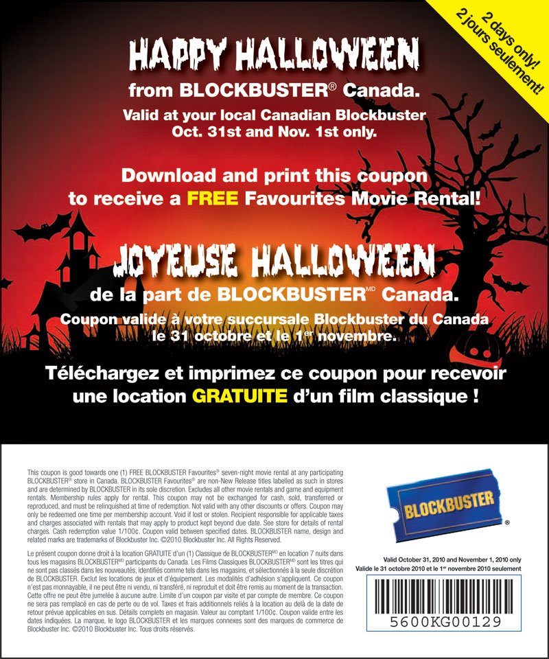 photograph regarding Blockbuster Printable Coupon identify Blockbuster Cost-free Online video Apartment Halloween Promo (October 31- Nov 1