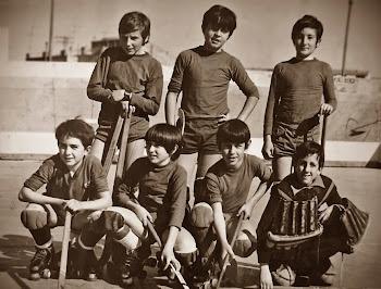 Igualada Hoquei Club 1971/72: Puig, Roca, Pujol, Domènech, Fillat, Solà, Moritz