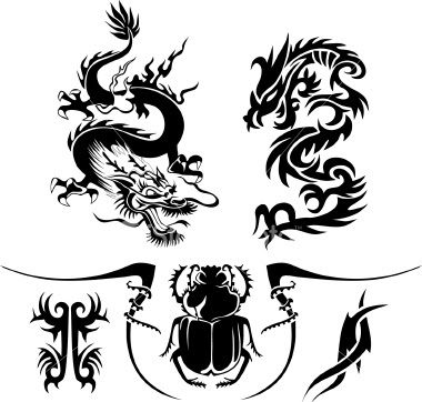 Черни дизайни за татуировки дракони