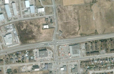 Overhead view of La Verendrye and Greber intersection
