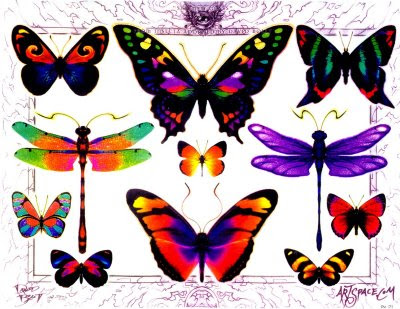 Butterfly Tattoo Flash Design