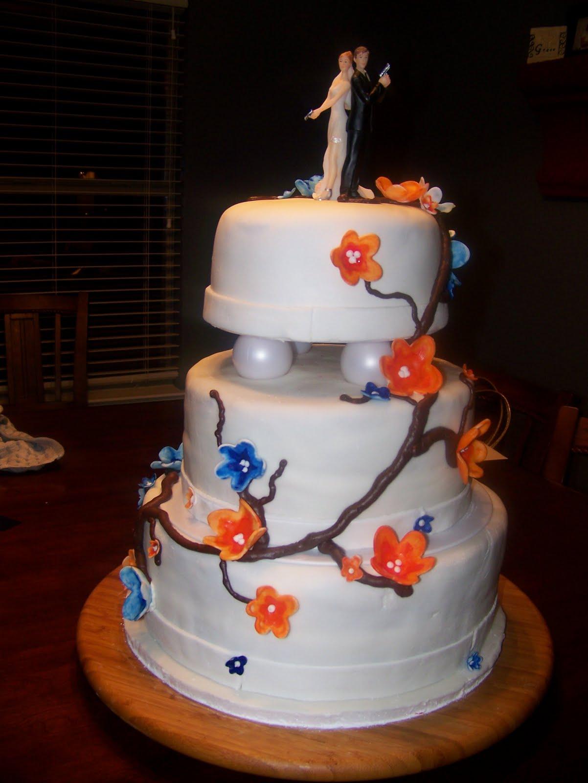 Rockin Cakes Orange and Blue Blossom s Wedding Cake