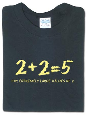 Camiseta 2+2=5, para valores extremamente grandes de 2
