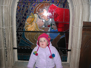 Top Ender in front of the Dinsey Land Paris Stained glass window of Sleeping Beauty 2006