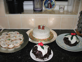 Selection of various Christmas cakes